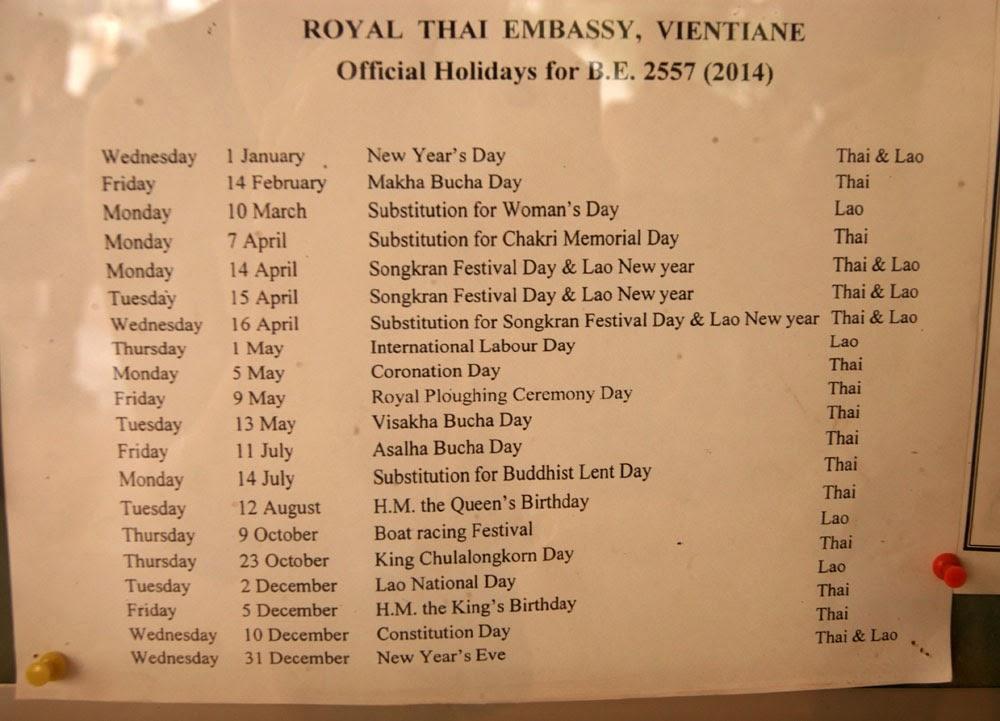 Праздники посольства, Лаос